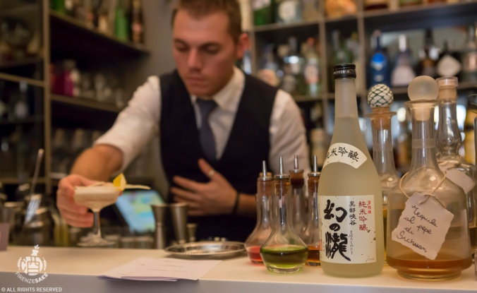 Junmai Ginjo Maboroshi no Taki: coktail Cottonmouth by LucaRosignoi (The Fusion) Master Class @Rivalta Cafe